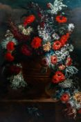 Flemish school, monogrammed V.H.: A bouquet of flowers in an urn, oil on canvas, 18th C.