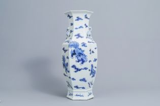 A hexagonal Chinese blue and white 'Buddhist lions' vase, 19th C.