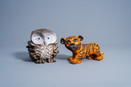 A tiger and an owl in polychrome glazed terracotta, Vandeweghe for Perignem, second half of the 20th
