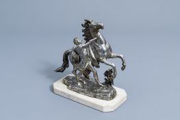 French school, after Guillaume Coustou the Elder (1677-1746): A Marly horse, silver plated bronze on