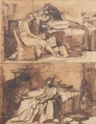 Francesco Nenci (1782-1850): Two Neoclassical compositions, mixed media on paper