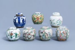 Seven various Chinese famille rose, famille verte, blue and white jars, 19th/20th C.