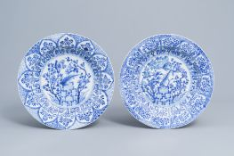A pair of Chinese blue and white 'pheasant' chargers, Kangxi
