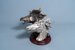Illegibly signed: A silver plated and a patinated horse's head, Brunel, Italy, dated 1997