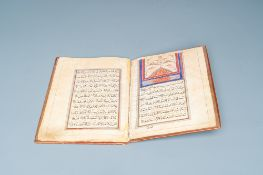 An illuminated Persian manuscript on paper with red leather binding, Iran, 19th/20th C.