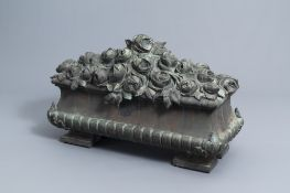 Jean Rabiant (19th/20th C.): A patinated metal garden ornament with floral design