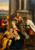 Flemish school: Adoration of the magi, oil on copper, 17th C.