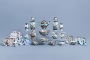A varied collection of Chinese famille rose, verte, blue & white porcelain, 18th C. & later