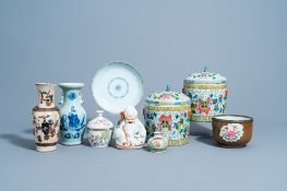 A collection of Chinese famille rose, qianjiang cai & blue & white porcelain, 18th C. & later