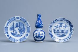 A Chinese blue and white double gourd vase with antiquities design and two plates with figurative de
