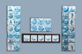 39 various Dutch Delft blue and white tiles, 17th C. and later