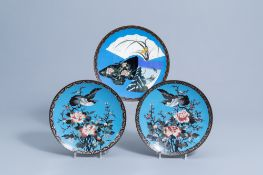 Three Japanese cloisonne chargers with floral design, Meiji, 19th C.