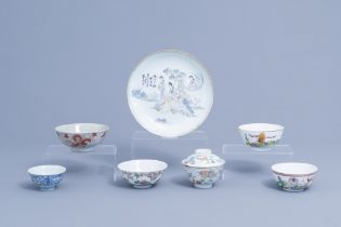 A varied collection of Chinese polychrome porcelain, 19th/20th C.