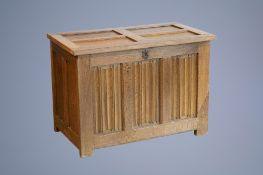A Gothic revival oak wooden chest, 19th C. and earlier
