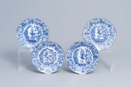 Four Chinese blue and white plates with a bird among blossoming branches, Kangxi