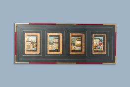 Four framed Persian narrative miniatures on paper, India, 19th C.