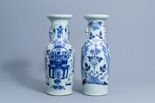 Two Chinese blue and white celadon ground vases with antiquities and phoenixes, 19th/20th C.