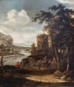 Dutch school, circle of Dionijs Verburgh (1655-1722): An animated river landscape, oil on panel, ca.
