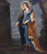 Flemish school: Saint Barbara, oil on canvas, 17th C.