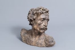 Belgian or French school: Portrait bust of a man, patinated terracotta, 20th C.