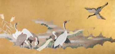 Japanese school, mixed media, 20th C.: Cranes in a landscape