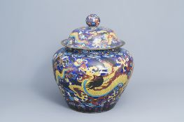 A large Chinese cloisonne 'dragons' jar and cover, 20th C.