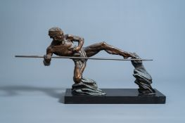 P. Berjean (20th C.): The hunter, patinated bronze on a black marble base