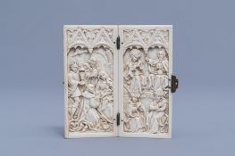 A French Gothic Revival carved ivory diptych depicting the Adoration of Christ and Mary Queen of Hea