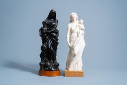 Two Virgin and Child groups in wood and alabaster, one signed K. Van Zundert, 19th/20th C.