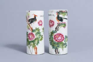 Two Chinese qianjiang cai hat stands with birds on blossoming branches, 19th/20th C.