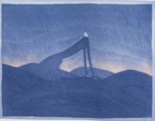 Jean-Michel Folon (1934-2005): 'Le cri', etching and aquatint, ed. 36/60, (1972)