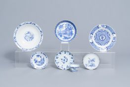 A varied collection of blue and white porcelain, Kangxi and later
