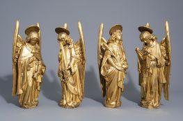 Four Gothic revival gilt wood angel statues with Arma Christi, 19th C.