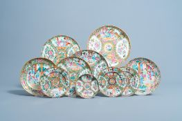 Ten various Chinese Canton famille rose plates and saucers, 19th/20th C.