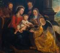 Flemish school: The Holy Family with Saints Anne and Joachim and an angel, oil on panel, 17th C.