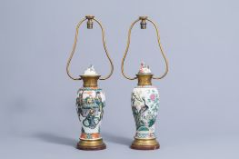 Two various Chinese famille verte and famille rose vases and covers mounted as lamps, 19th C.
