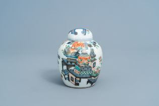 A Chinese doucai 'antiquities' jar and cover, Kangxi mark, 19th C.