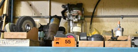 LOT/ SPARE PARTS - INCLUDING SPRINGS, WIRE WHEELS, HYDRAULIC CYLINDERS, IN-LINE FILTERS