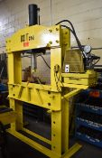 """HYDRAULIC H-FRAME SHOP PRESS WITH 100TON CAPACITY, 24"""" STROKE, 6"""" DIA. CYLINDER, 5000PSI MAX."""
