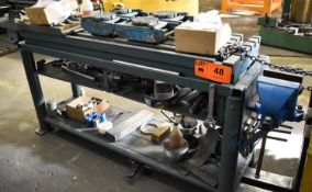 """HEAVY DUTY 13""""X63"""" T-SLOT STEEL BENCH WITH 6"""" VISE (CI) [RIGGING FEE FOR LOT #48 - $30 CAD PLUS"""