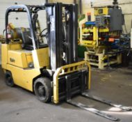 YALE MODEL GLC050 LPG FORKLIFT WITH 5000 LB. CAPACITY, 3 STAGE MAST, SIDE SHIFT, SOLID TIRES, 3496