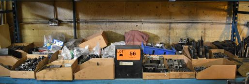 LOT/ CONTENTS OF SHELF - INCLUDING PULL STUDS, TOOL HOLDERS, HAND TOOLS, SPARE PARTS, ELECTRICAL