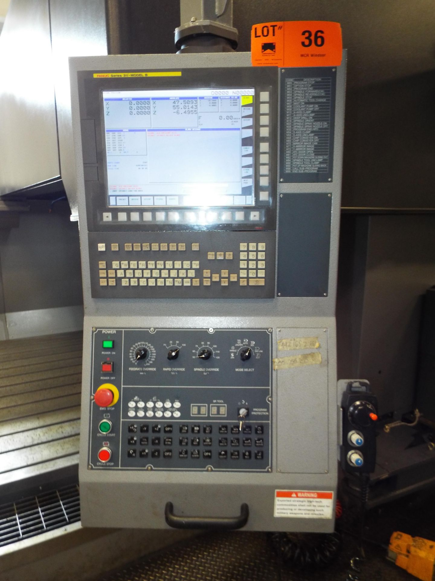KAFO (INSTALLED NEW IN 2018) BMC-3127 CNC DOUBLE COLUMN VERTICAL MACHINING CENTER WITH FANUC - Image 11 of 13
