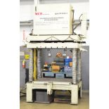 """MCR HYDRAULIC 4-POST SPOTTING PRESS WITH 51"""" X 52"""" HYDRAULIC SHUTTLE TABLE, 54"""" BETWEEN POSTS, 45"""""""