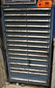 LOT/ LISTA 15 DRAWER TOOL CABINET WITH PERISHABLE TOOLING - INCLUDING TAPS, DRILLS, EXTENSION