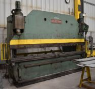 "PEARSON HYDRAULIC BRAKE PRESS WITH 175 TON CAPACITY, 147"" OVERALL BENDING LENGTH, 122"" BETWEEN"