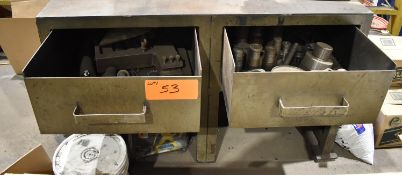 LOT/ 2 DRAWER STEEL SHOP TABLE WITH TOOLING & PARTS