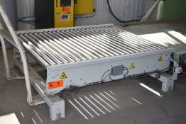 "PREMIER TECH (2013) MODEL 105776 72""X58"" POWERED BALE INFEED ROLLER CONVEYOR WITH LOAD CELLS AND"