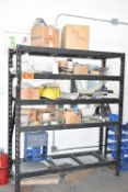 LOT/ SHELF WITH SHOP SUPPLIES AND HARDWARE RACK