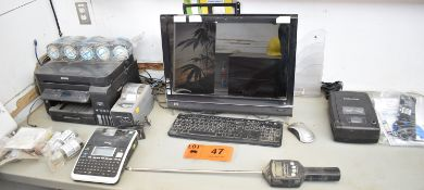 LOT/ HP MONITOR WITH KEYBOARD, EPSON PRINTER, HEAT TRANSFER LABEL PRINTER, HAND HELD LABEL PRINTER,